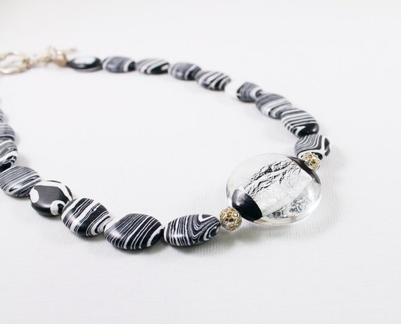 Lampwork necklace, black and white necklace, zebra jasper gemstone necklace, lampwork jewelry stone necklace