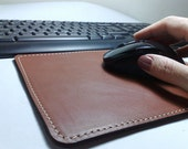 Perfect Mouse pad with leather desk pad double cowhide double leather personalized Handmade camel - brown cowhide leather free initials
