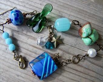 Lampwork Brass Bracelet Gemstones Dangles Blue Green Sea