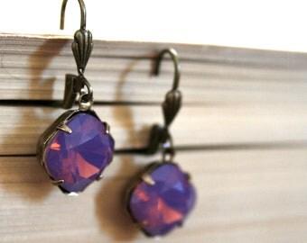 Cyclamen Opal Swarovski Crystals, Oxidized Brass, Cushion Cut Square, Estate Style, Purple, Pink