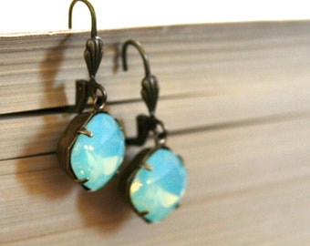 Chrysolite Opal Swarovski Crystals, Seafoam Green, Cushion Cut Square, Oxidized Brass, Estate Style