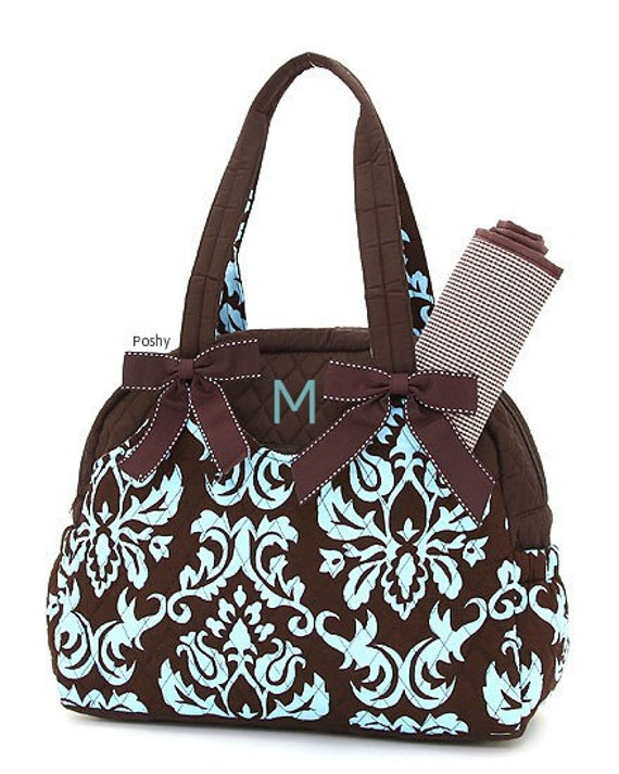 Personalized Diaper Bag in Blue & Brown Damask Pattern 2 PIECE