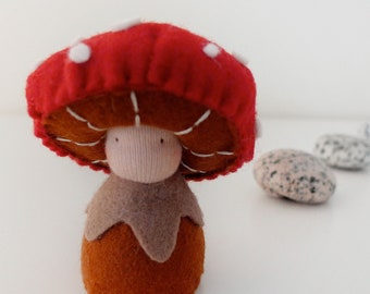 Waldorf mushroom figurine, wool felt doll, Organic toy, Eco friendly toy - Tira