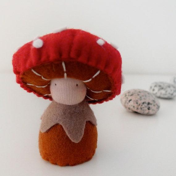 Waldorf mushroom figurine, wool felt doll, Organic toy, Eco friendly toy - Tira