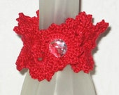 Iced Crocheted Queen Anne's Lace Cuff Bracelet