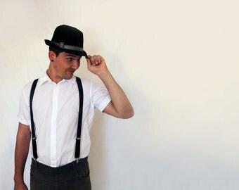 Unisex Man Suspenders Black