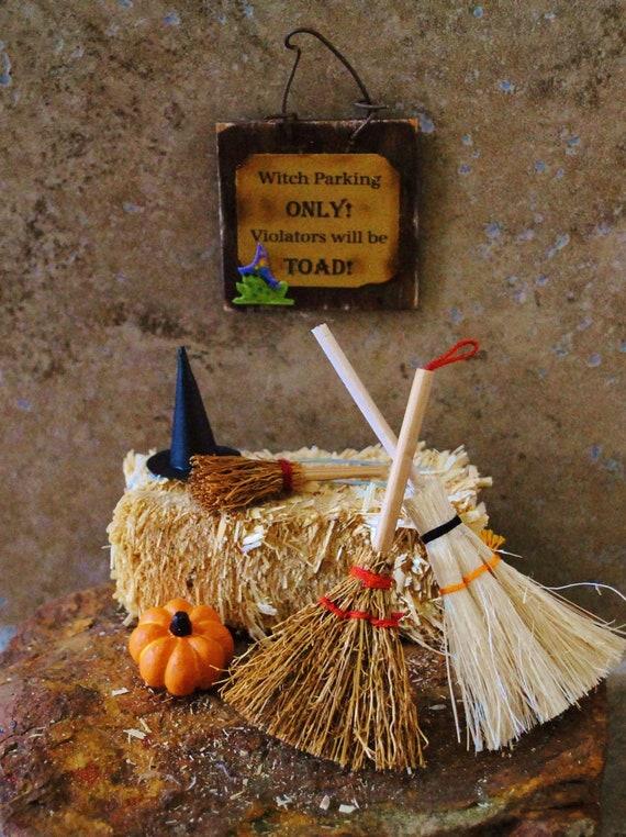 "Miniature Halloween Scene - ""Witch Parking"""