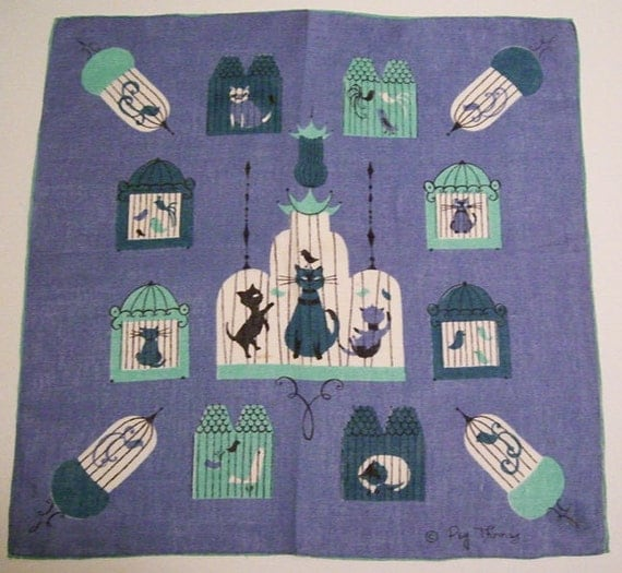 Vintage Peg Thomas Tammis Keefe Designer Cat Bird Hankie