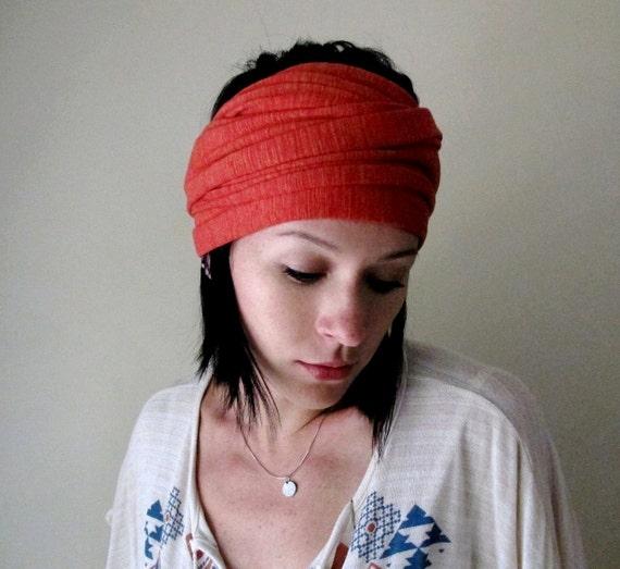 Rusty Brick Red Head Scarf, Hair Wrap, Headband - All in One Womens Accessory - Neck Bow, Scarf - Fall Fashion
