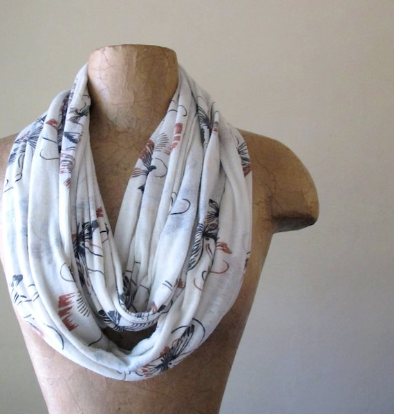 Butterfly Infinity Scarf - Nature Inspired Loop Scarf - Lightweight Cotton Fabric Circle Scarf - Off White, Black, Auburn Brown
