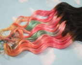 Sunset Ombre Dip Dyed Hair, Clip In Hair Extensions, Tie Dye Tips, Brunette Hair, Hair Wefts, Human Hair Extensions, Hippie hair