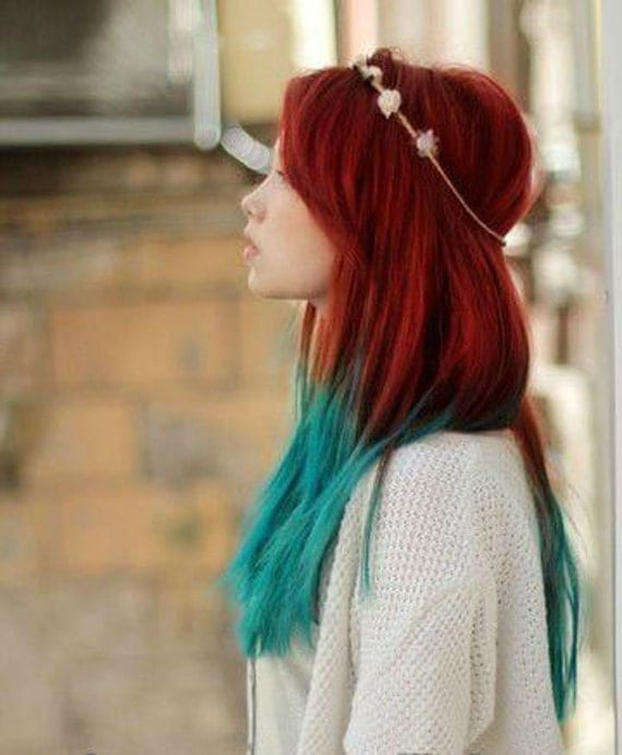 handmade mermaid red ombre dip dyed hair extensions tye dye