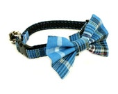 Cat Collar - Picnic Blue Plaid - Matching Bow Tie and Flower Available