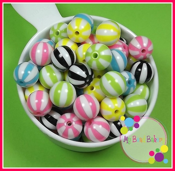 16 Pieces 16mm Melon Striped Acrylic Beads Multicolored DIY Crafts
