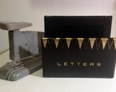Vintage desk letter holder / stand, black with gold letters and geometric pattern, retro modern office decor / accessory