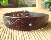 "Dark Chocolate and Turquoise Leather. Embossed Retro Design. 1"" Wide Leather Collar."