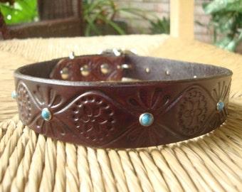 Custom Dark Chocolate and Turquoise Leather. Embossed Retro Design.