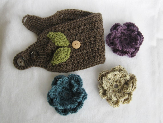 Interchangeable Crochet Flower Pattern : Crochet Ear Warmer PATTERN -Ear Warmer with ...