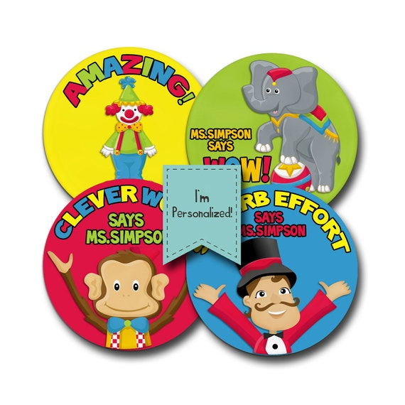 UNDER the BIG TOP Personalized stickers for Teachers