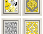 Set of Four Modern Vintage Gray/Yellow Wall Art - Print Set - Home Decor - 8x11 Prints (Unframed)
