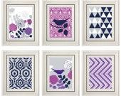 Set of Six Modern/Vintage Purple Wall Art - 8x11 Print Set - Home Decor - For Home (Unframed)