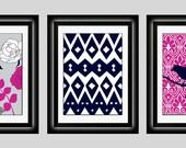 Set of Three Modern Fuchsia/Dark Blue Wall Art - Print Set - Home Decor (Unframed)
