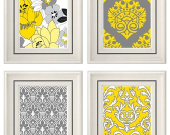 Set of Four Modern Vintage Gray/Yellow Wall Art - Print Set - Home Decor - 8x11 Prints (Unframed)