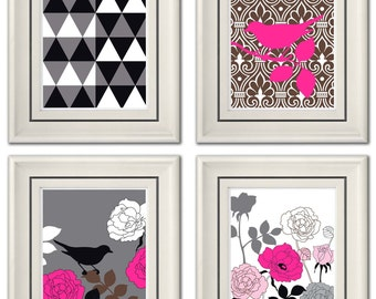 Set of Four Modern Pink/Beige Wall Art - Print Set - Home Decor - 8x11 Print (Unframed)