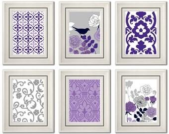 Set of Six Modern Purple/Gray Wall Art - Print Set - Home Decor (Unframed)