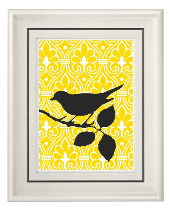 Modern vintage yellow bird wall art home decor unframed for Home decor yellow walls
