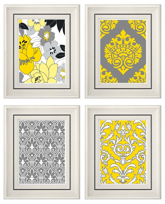 set of four modern vintage gray yellow wall art print set. Black Bedroom Furniture Sets. Home Design Ideas