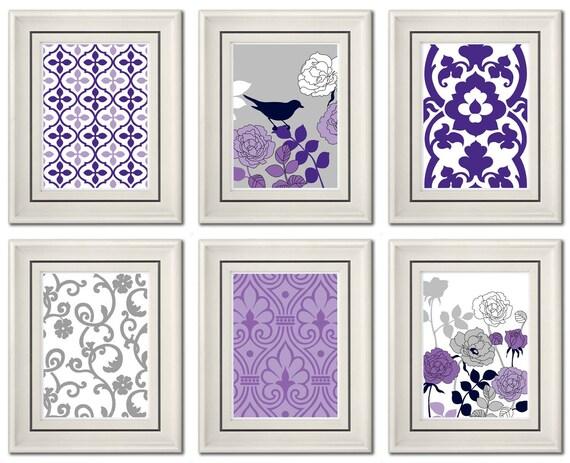 set of six modern purple gray wall art print set home. Black Bedroom Furniture Sets. Home Design Ideas