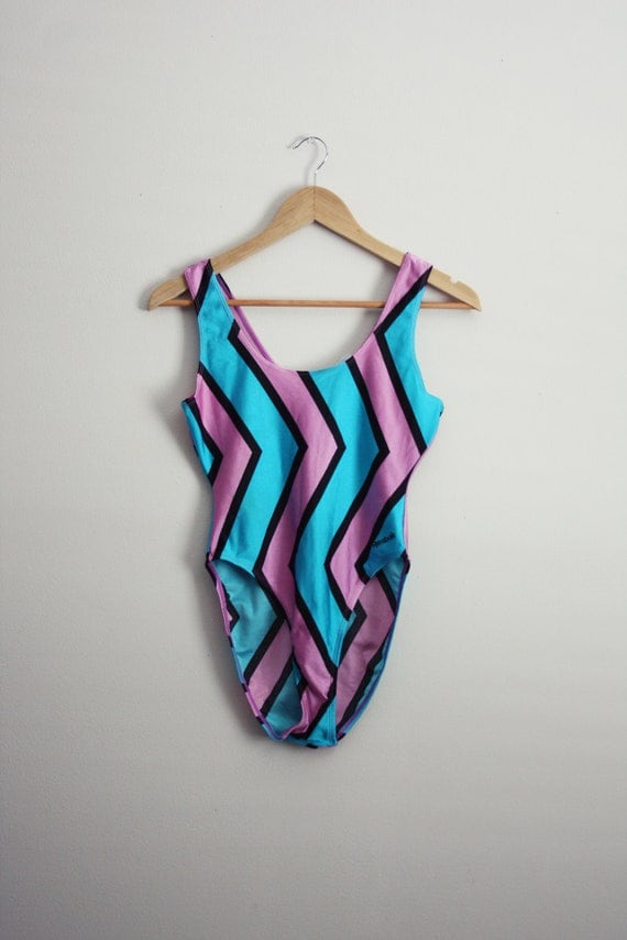 80s Reebok Zig Zag Bathing Suit. Turquoise and Pink Retro Swimsuit. Size Medium.