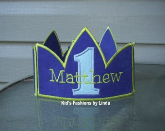 Blue Corduroy Crown with Number/Name