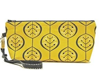 Leaf Patterned Zipper Pouch, Stylized, Handmade, Black, Warm Yellow, White