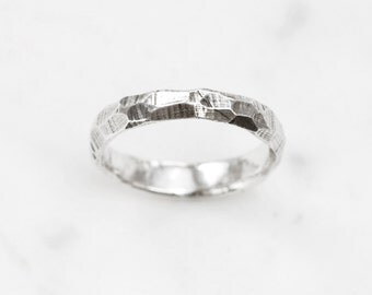 Silver rough and smooth ring - slim