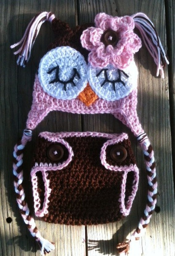 Newborn Baby Girl Sleepy Crochet OWL Pink n BROWN Diaper Cover -n- Beanie Hat Set with Buttons -- Cute Photo Prop