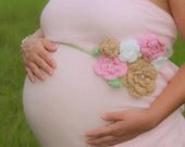 Crochet MATERNITY Simply Sweet Belly Blossom Sash, Photography Prop