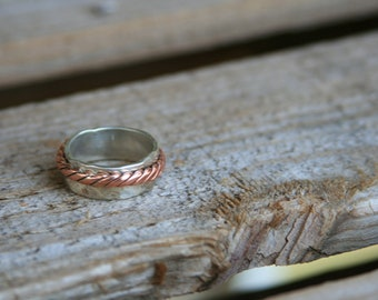 Handmade Hammered Sterling Silver and Twisted Copper Spinner/Prayer Ring
