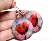 Floral Earrings ,Pastel Tulip dangle  Round decoupage earrings  deep red,  gift for her under 25