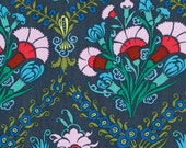 1/2 yard LAMINATED cotton fabric remnant (18 x 40) - Josephine's bouquet - Amy Butler cameo (aka coated vinyl fabric) BPA free