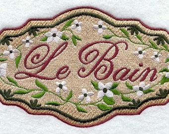 Guest Bath Le Bain Embroidered Flour Sack Hand/Dish Towel