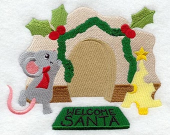 Max the Mouse Home for the Holidays Embroidered Flour Sack Hand/Dish Towel