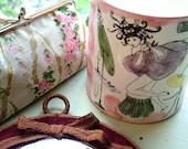Set of 3: vintage Make Up bag ROSES, bowl GIRL curly hair, Mirror velvet with TIE- fifties, sixties, seventies