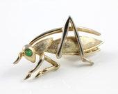 Boucher Grasshopper brooch Emerald eye gold tone 1968