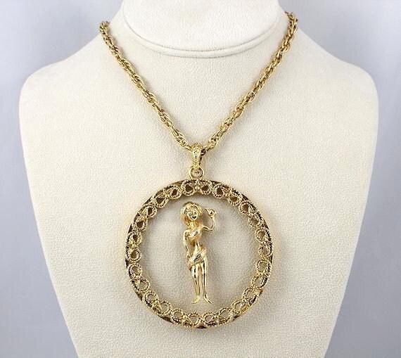 Vintage Virgo zodiac Necklace Huge clear lucite pendant