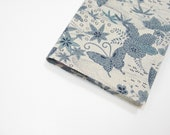 Oriental blue white butterfly - fabric cover for large Moleskine 2014 planner or journal, handmade by greengrass