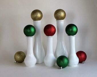 Vintage Milk Glass Vases - Set of Five (5)