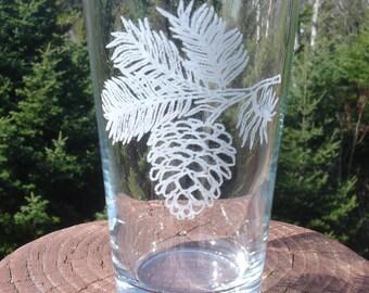 Pine Cone Etched Glassware
