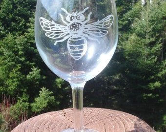 Bee Etched Glassware